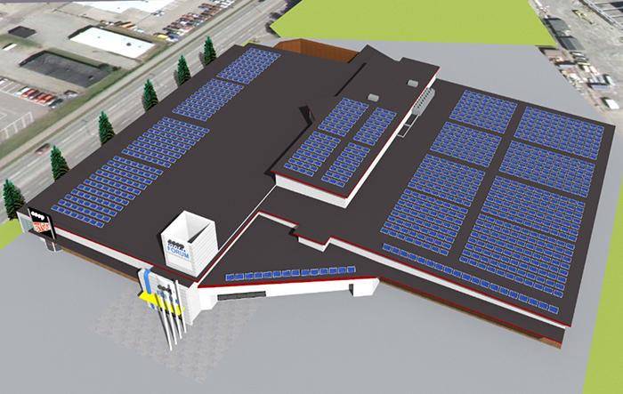 3-d animering över taket och placeringen av solceller på Coop Forum Kristinehamn. Bild; Eneo (Fri publicering)
