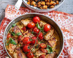 Kycklingrullar med balsamicosky, belugalinser och sötpotatis