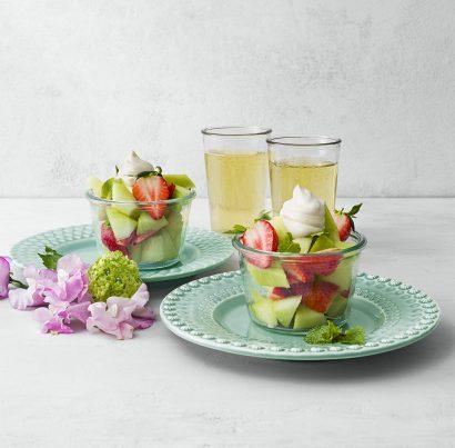 Melonbägare med lemon curd-visp